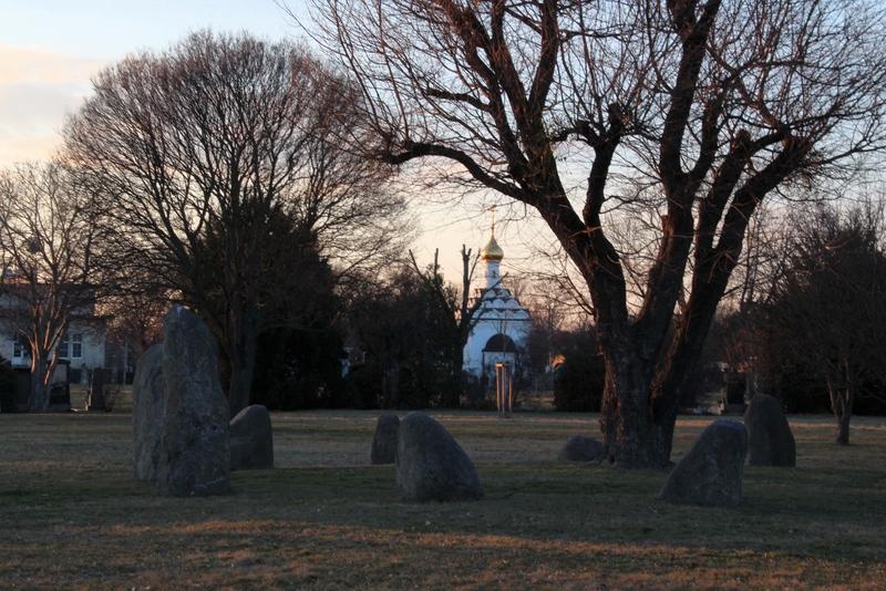 Steinkreis auf dem Friedhof, auf dem Zentralfriedhof in Wien