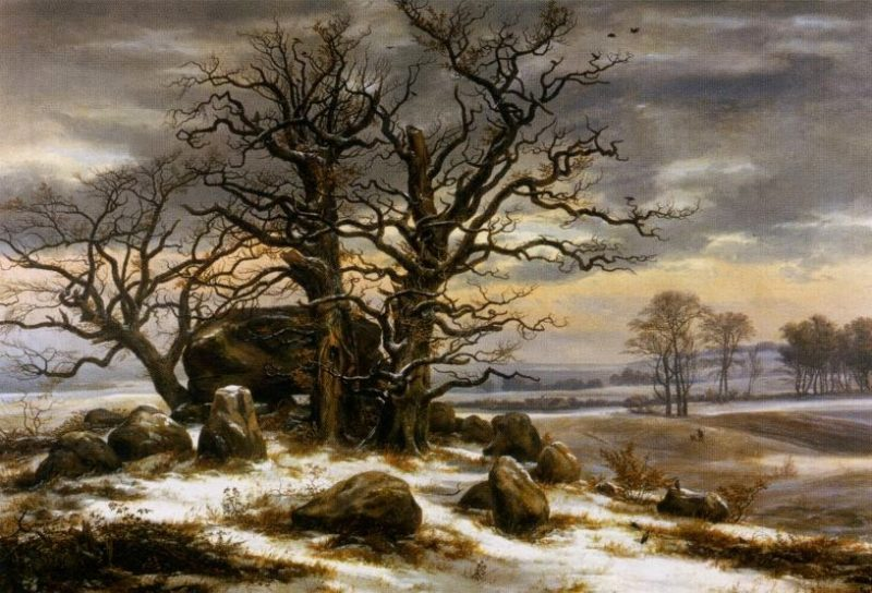 "Johan Christian Dahl ""Hünengrab nahe Vordingborg im Winter"", 1825"