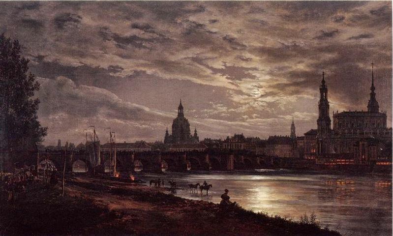 "Johan Christian Dahl ""Blick auf Dresden bei Vollmondschein"" 1839"