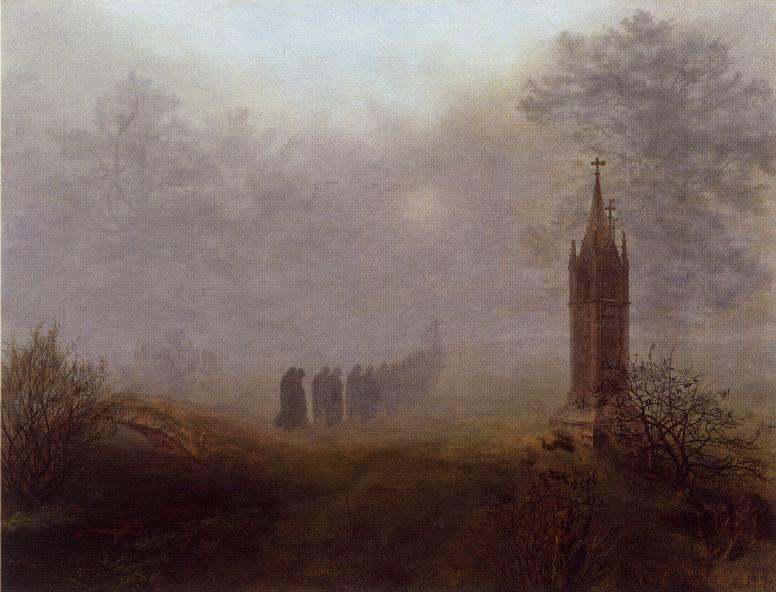 """Ernst Ferdinand Oehme """"Prozession im Nebel"""" 1828"""
