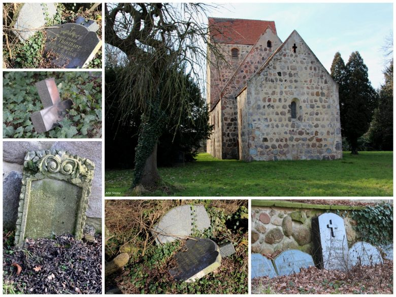 Backstein, Romanik, verfallener Friedhof