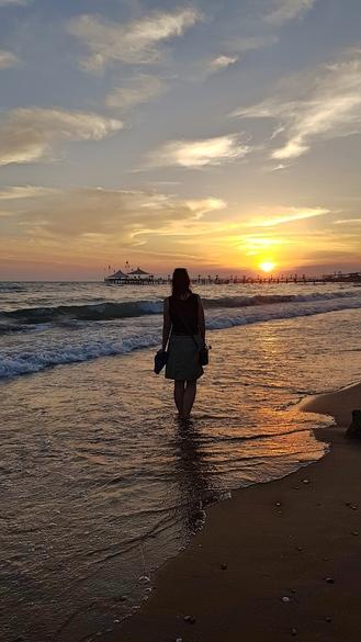 Strand bei Side, Sonnenuntergang am Meer